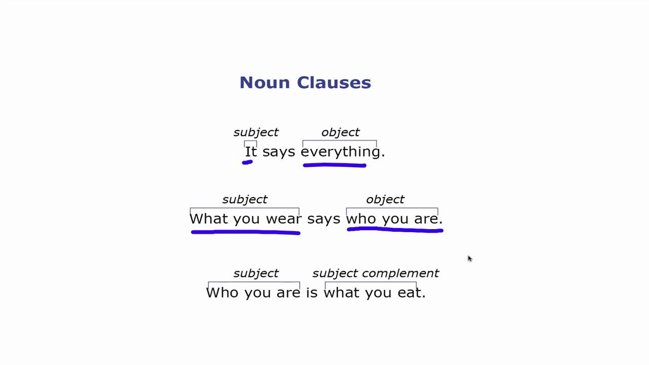noun clauses A noun clause is another type of complex sentence that you are likely to use when you do any form of writing or speaking, so you need to be aware of them for ielts and remember that to score at a band 6 or above for the grammatical range and accuracy criteria in the ielts writing marking, you.