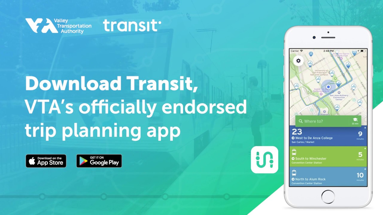 the transit app trip planner endorsed by vta youtube