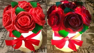 Светильник розы из изолона своими руками/роза из глиттерного фоамирана/молд для листа своими руками