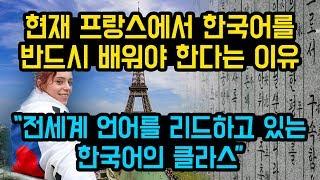 """현재 프랑스에서 한국어를 반드시 배워야 한다는 이유, """"전세계 언어를 리드하고 있는 한국어의 클라스"""""""