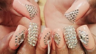 fancy gel color diamond nail art designs tutorial