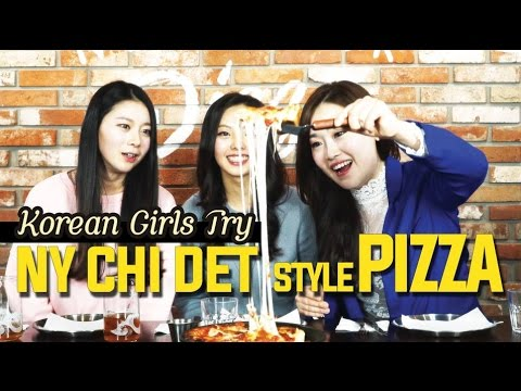 Korean girls try New York, Chicago, Detroit Style Pizzas  [Digitalsoju TV]