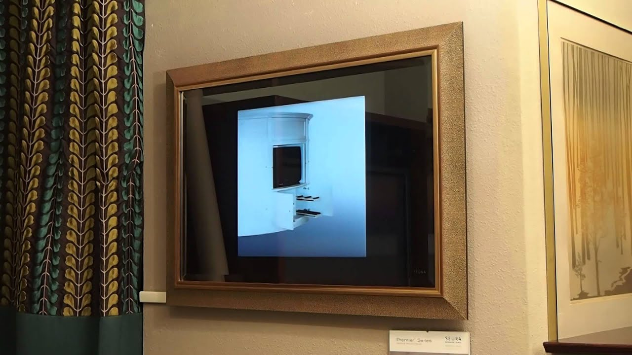 Seura Mirror TV With Frame and Bevel - YouTube