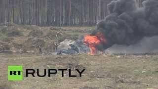 Вертолет Ми-28 потерпел крушение на авиашоу под Рязанью, один из пилотов погиб(Военный вертолет Ми-28 упал во время исполнения фигуры высшего пилотажа на авиашоу в Рязанской области...., 2015-08-02T10:58:20.000Z)
