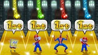 Mario Party 9 MiniGames - SpongeBob Vs Mario Vs Luigi Vs Spider Man (Master Difficulty)