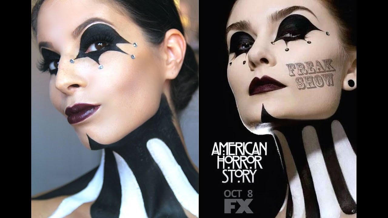American Horror Story: FreakShow Halloween Makeup Tutorial - YouTube