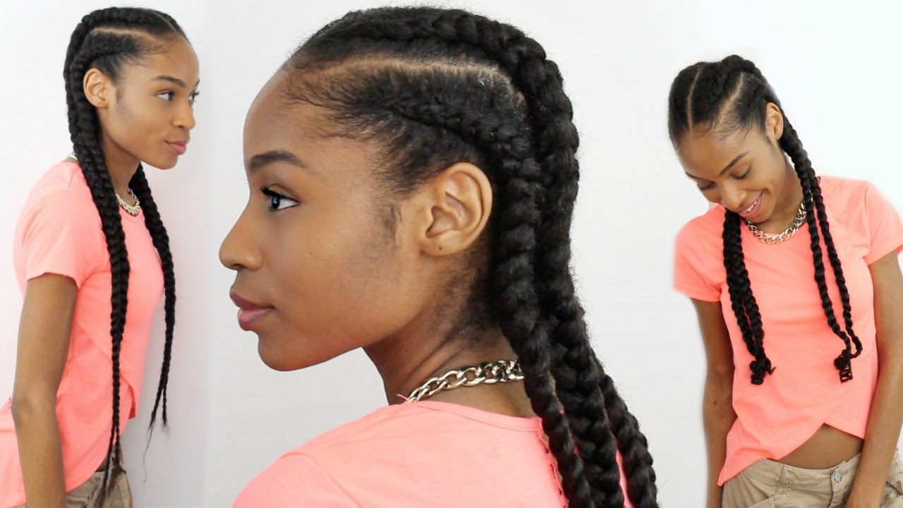 4 feed in braids natural hair