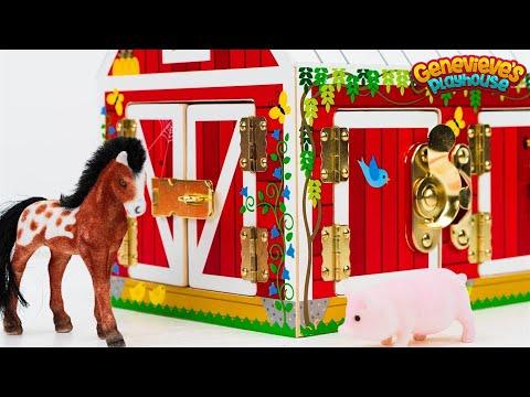 Farm Animal Names Teach Kids Barn Animals  Best Learning Videos Educational Toy Barn Horse Goat Pig!