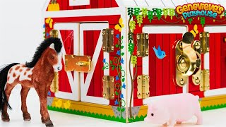 Farm Animal Names Teach Kids Barn Animals  Best Learning Videos Educational Toy Barn Horse Goat Pig!