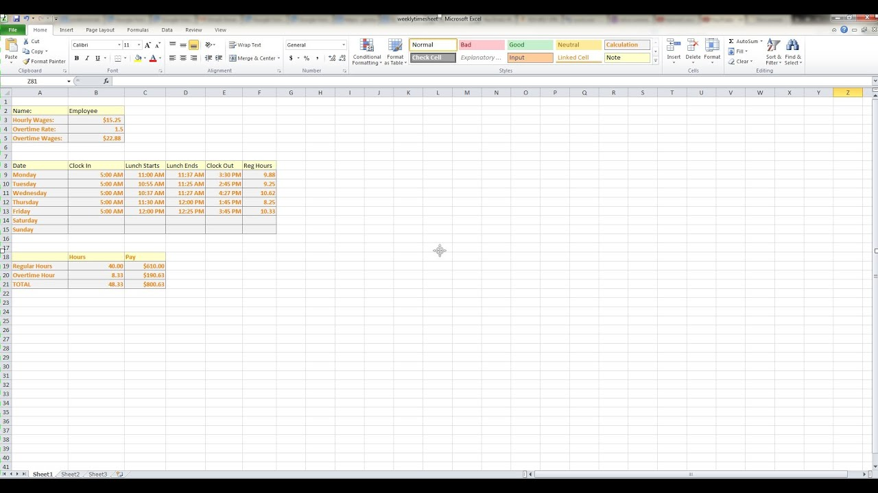 How to Make a Weekly Timesheet Calculator in Microsoft Excel YouTube – Sample Payroll Timesheet Calculator