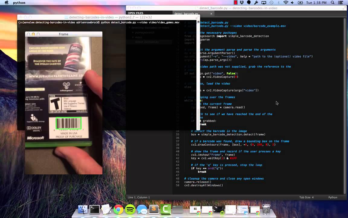 Real-time barcode detection in video with Python and OpenCV