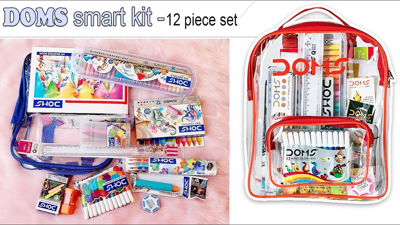 DOMS Smart Stationery Kit (12 pcs) with Transparent Zipper Bag #shorts