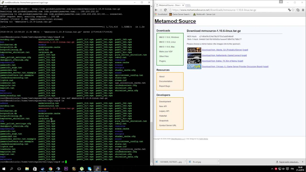 How to install metamod and sourcemod to CS:GO server 2016