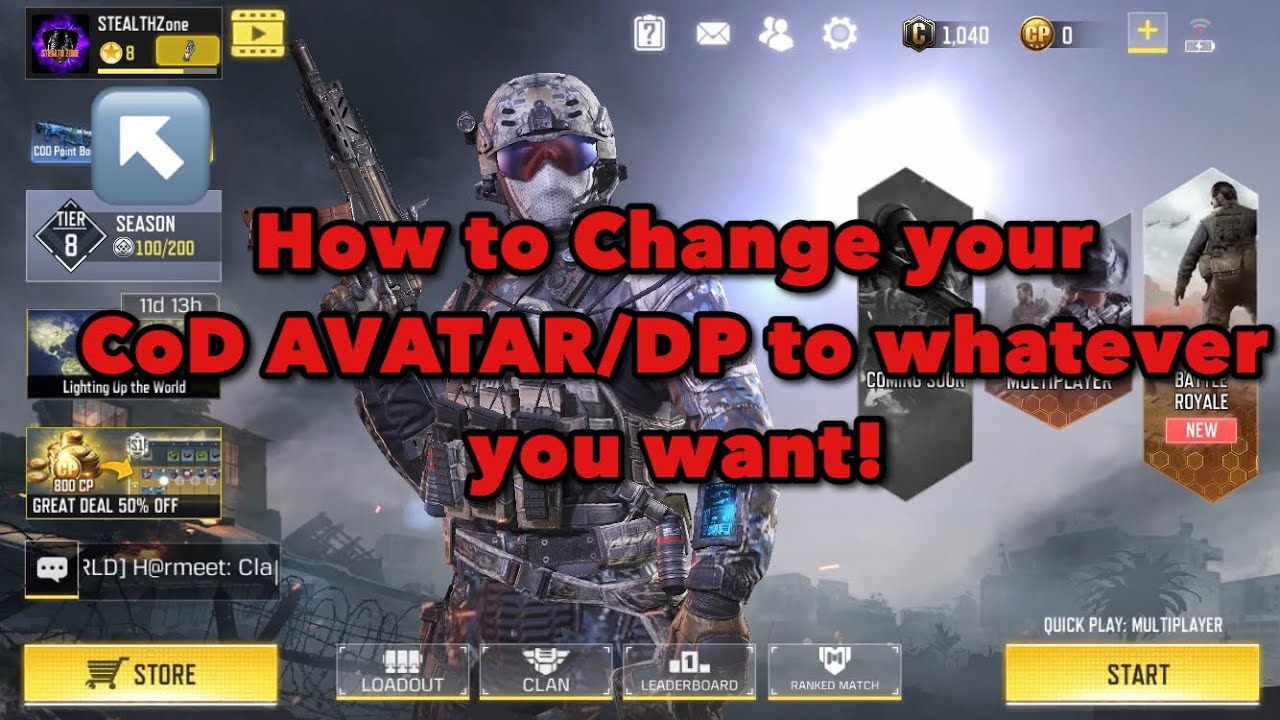 Cod How To Change To Custom Avatar In Call Of Duty Mobile Youtube
