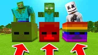 Minecraft PE : DO NOT CHOOSE THE WRONG ZOMBIE HEAD! (Mutant Zombie, Zombiebrine & Marshmello)