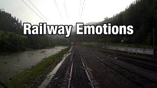 Heavy train in heavy rain (Cab Ride Switzerland   Zurich - Lucerne)