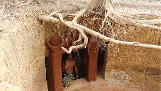 Unbelievable ! Build the secret temple house under the big sick root