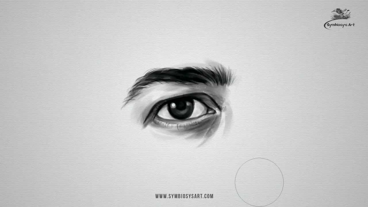 How to draw Realistic Male Eye - YouTube