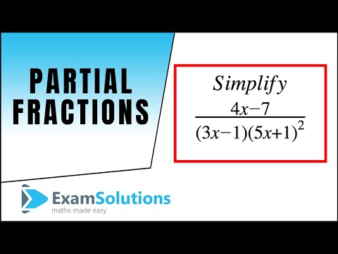 Partial fractions 1 : Examsolutions
