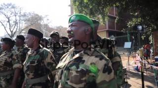 Close up of military veterans singing. Members of the Umk...