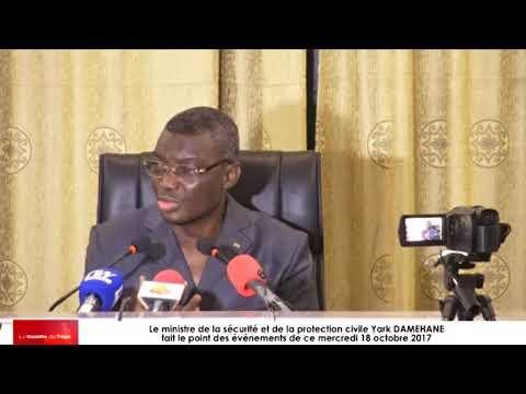 Yark DAMEHANE en conférence de presse, fait le bilan des événements de la journée