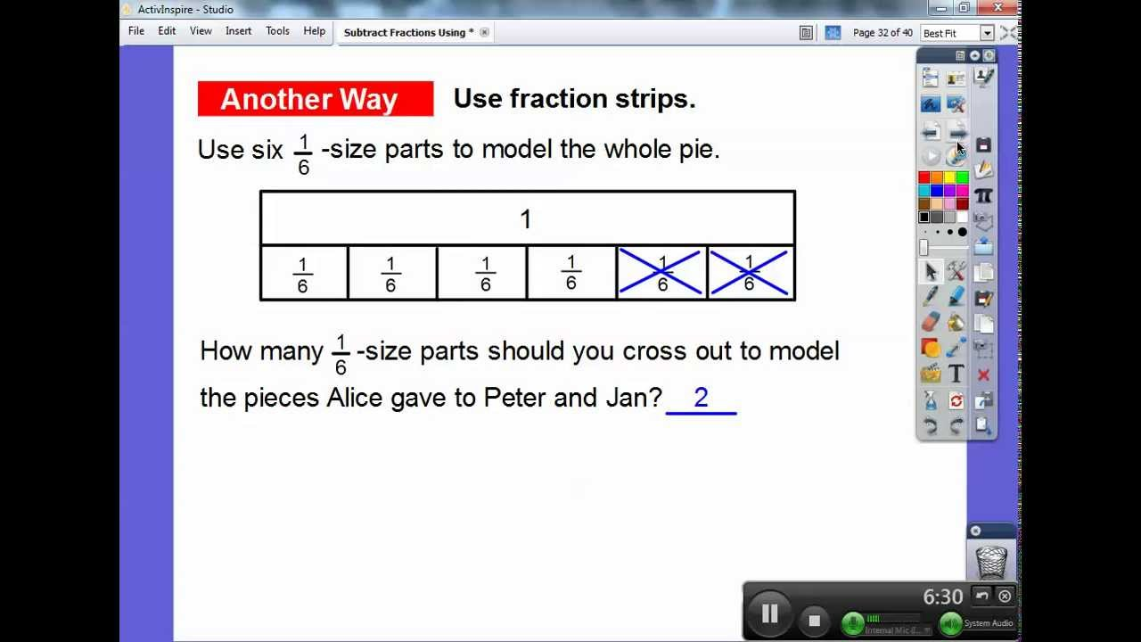 Subtract fractions using models section 74 youtube ccuart Gallery