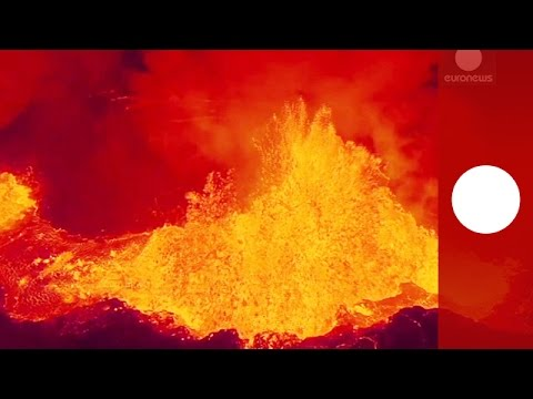 Stunning drone footage: Iceland volcano eruption seen from sky