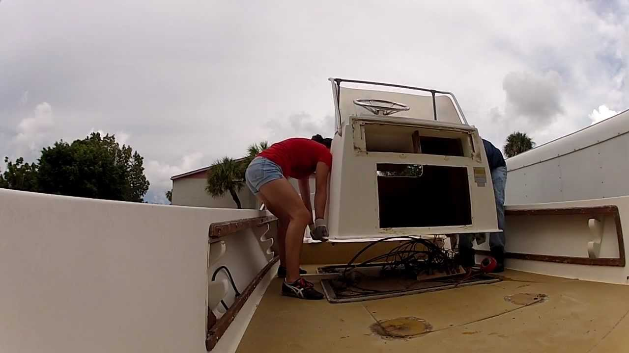 Boat Restoration:Pulling the center console on a 20 foot Mako - YouTube
