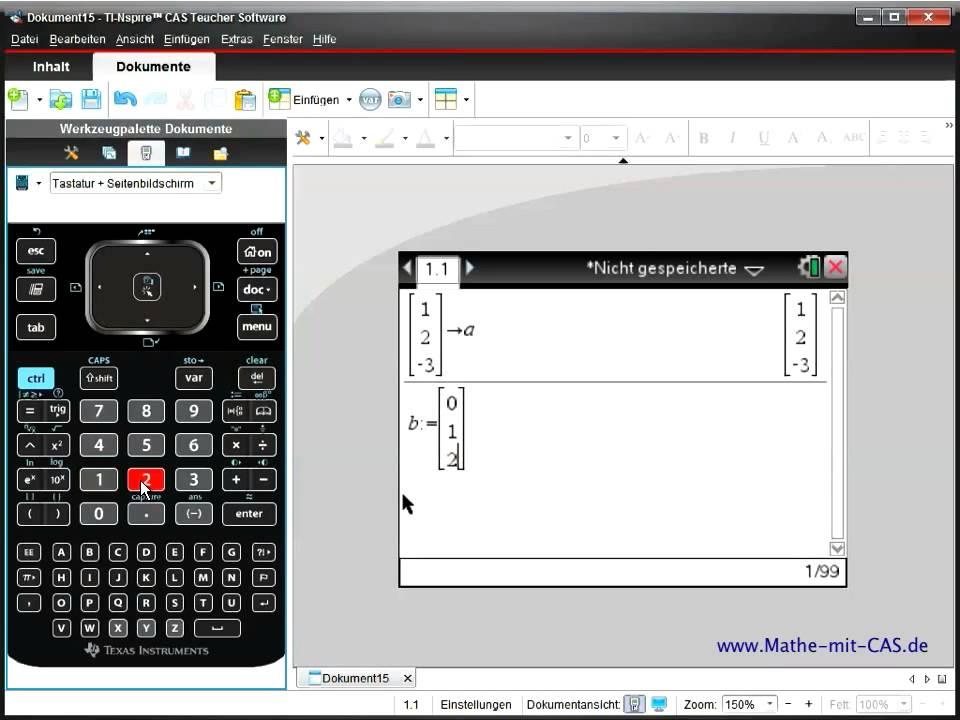 ti nspire cx cas rechnen mit vektoren youtube. Black Bedroom Furniture Sets. Home Design Ideas