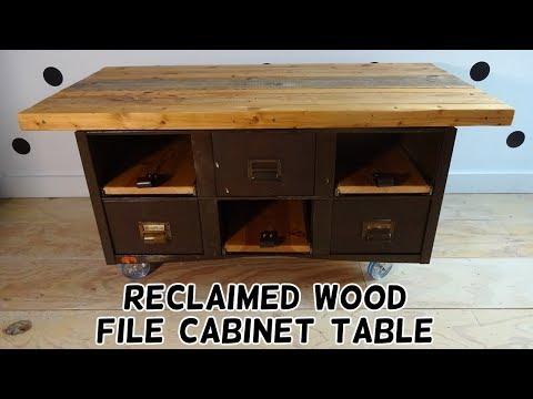 Reclaimed Wood File Cabinet Table Flip!