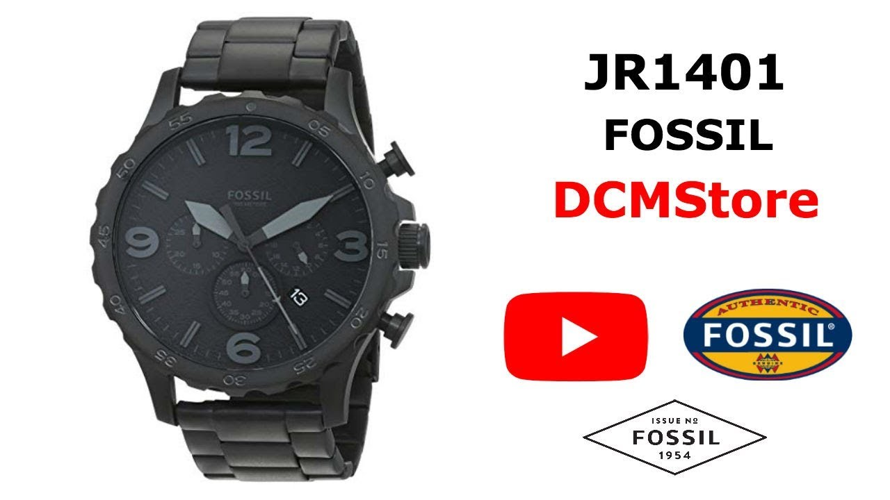 b5b541f0683f JR1401 Fossil Nate Chronograph Black Militar ..... DCMStore - YouTube
