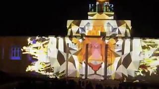 Kyiv Lights Festival. Световое шоу на здании Речного вокзала. Почтовая площадь
