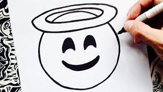 como dibujar un emoji angel | how to draw an angel emoji | como desenhar emojis
