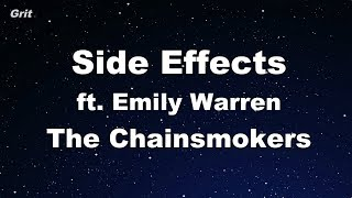 Side Effects ft. Emily Warren - The Chainsmokers Karaoke 【With Guide Melody】 Instrumental