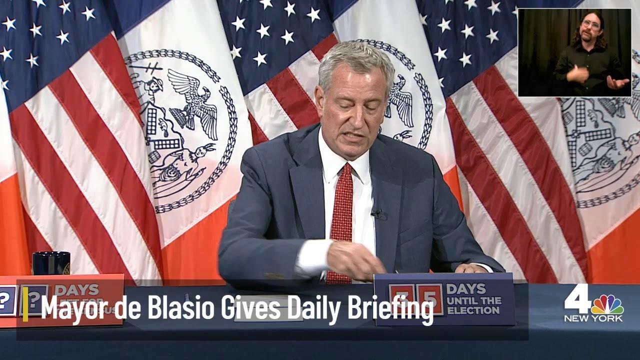 NYC Mayor De Blasio Holds Daily Briefing