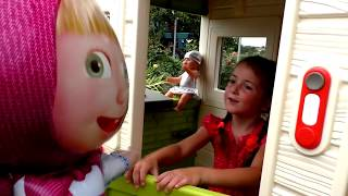Kids pretend play with building playhouse for toys