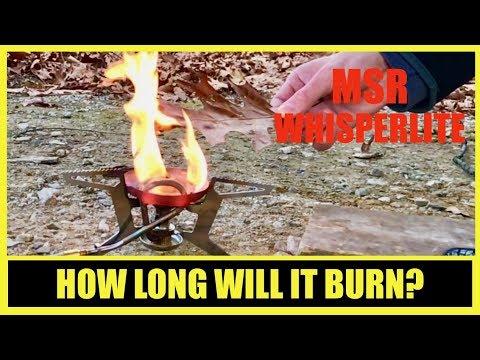 MSR WHISPERLITE UNIVERSAL HOW LONG WILL IT BURN?? | MSR whisperlite burn testing with white gas.