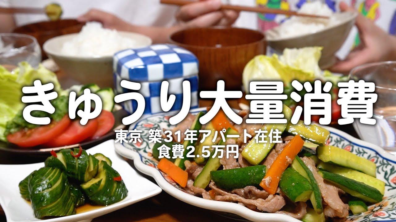 【食費2.5万円】きゅうりで一汁三菜つくる30代子なし夫婦のリアルな晩ごはん 2人暮らしの自炊記録