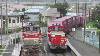 【長編6分】石巻貨物 鹿又駅 1655レ 652レ 交換 2018/09/25
