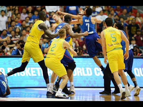 Gilas Pilipinas vs. Australia 3rd quarter fight in FIBA World Cup 2019 Asian Qualifiers