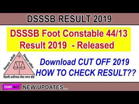 DSSSB Foot Constable 44 13 Result 2019 Released Download Cutoff Marks