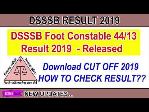 DSSSB Foot Constable 44 13 Result 2019 Released Download Cutoff Marks