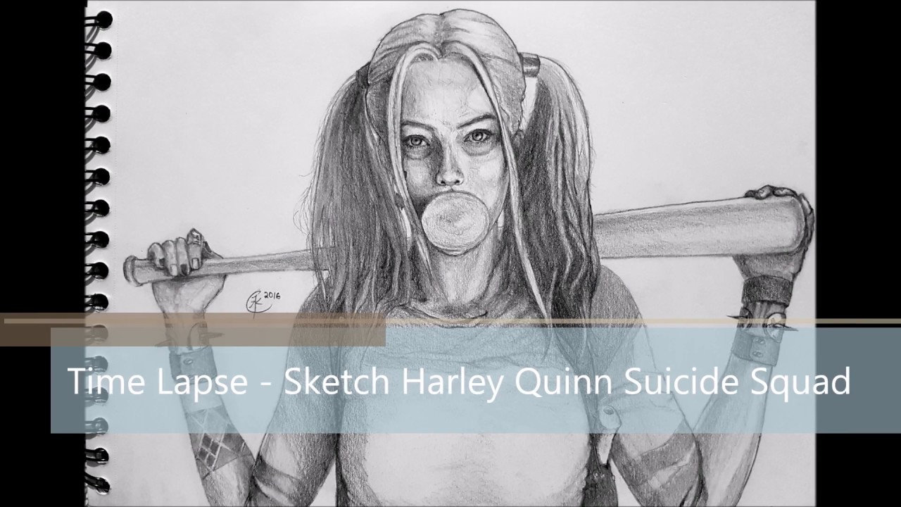 Pencil sketch drawing harley quinn from suicide squad