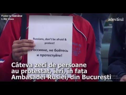 Protest anticorupție la Ambasada Rusiei din București