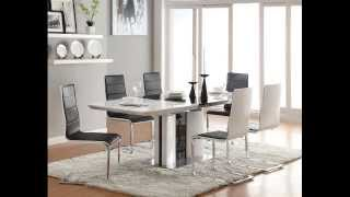 7 Pc Broderick Collection White And And Black High Gloss Finish Dining Table Set