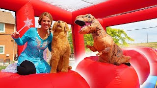 Frozen Elsa Surprises Sammie With Wipeout Bounce House!