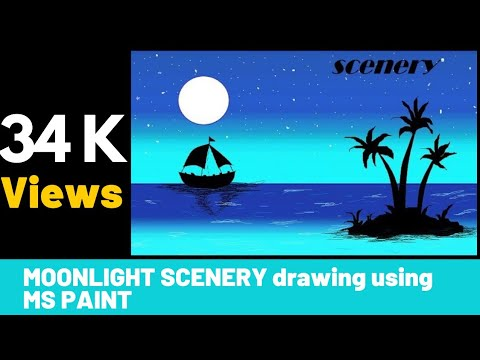 How to draw Moonlight Scenery using MS Paint |scenery|MS Paint
