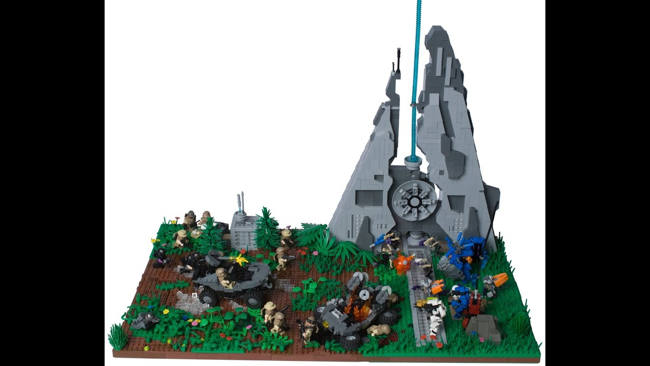 Skirmish at the beam emitter a lego halo diorama youtube - Lego spartan halo ...