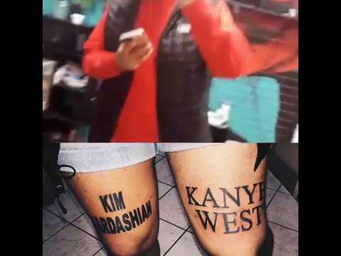 WTF! Man Gets Kim Kardashian and Kanye West Tattoos on His Legs