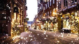 Snow Falling on Christmas Street